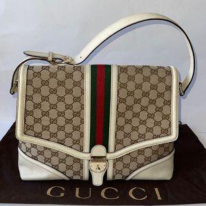 Authentic Gucci Web large treasure flap shoulder